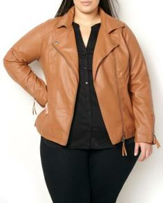 Cognac plus size faux leather moto jacket. plus size fashion for women