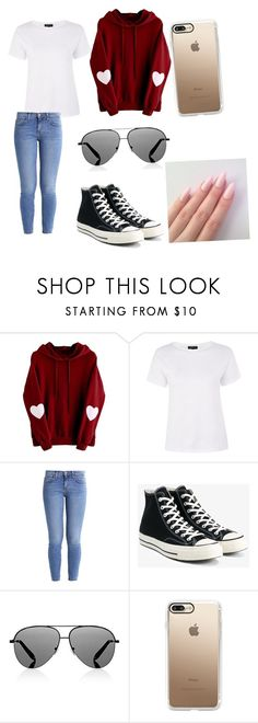 """""""Untitled #153"""" by haleybug18 ❤ liked on Polyvore featuring Topshop, Current/Elliott, Converse, Victoria Beckham and Casetify"""
