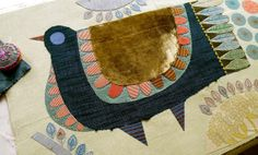 Applique stage. Nancy Nicholson. I think I know her work - wait, do I? Anyway, she's very interesting, and so is her blog.