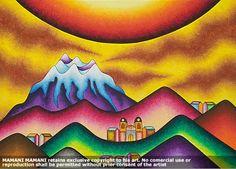 Roberto Mamani Mamani: Google+ Mountain Landscape, Bolivia, Famous Artists, Art Pictures, Folk Art, Flora, Card Making, Watercolor, Illustration