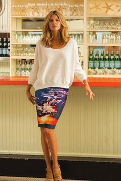 Twill Sky Print Pencil Skirt | Lydia's World Boutique #Resort #Style