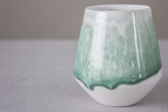 Feathered Green Drip Tumblr | Ceramics by Reiko Kaneko