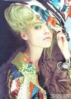 """Collage Girl"" / Sasha Pivovarova by Lucinda & Paolo Roversi /Vogue UK, August 2008"