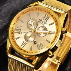Casual Brand Men Gold Watches Mesh Bracelet Quartz Clock Decorated Small Dials Roman Numerals Wrist Watch Male Hours relogio #Affiliate