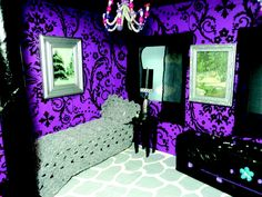 Monster High Bedroom Theme | One of the dorm rooms at Skull Academy for Monster High dolls