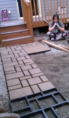 Do-It-Yourself Belgian-Style Cobblestone Walkway Mold from Pathmate~HSN Concrete Stepping Stone Molds, Garden Stepping Stones, Concrete Steps, Concrete Pavers, Outdoor Landscaping, Backyard Patio, Cobblestone Walkway, Landscape Curbing, Outdoor Projects