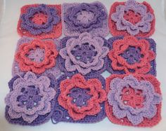 Ravelry: Project Gallery for French Nannie's Granny Flower Square pattern by Penny Peberdy
