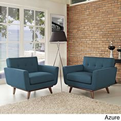 Modway Engage Mid Century Modern Sloping Armchairs (Set of 2) (Azure), Blue (Fabric)