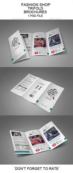 Buy Fashion Shop Trifold Brochure by maculinc on GraphicRiver. Hi there, this is a Perfect Brochure Template for you! This template is Super Easy to Edit. Print Templates, Resume Templates, Brochure Template, Report Template, Bi Fold Brochure, Brochure Design, Company Brochure, Pop Art Decor, Advertising Tools