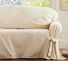 Tie-Arm Loose-Fit Slipcover - Twill | Pottery Barn