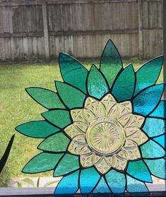 Items similar to Blue Corner Stained Glass Flower on Etsy Mosaic Flowers, Stained Glass Flowers, Faux Stained Glass, Stained Glass Projects, Stained Glass Patterns, Stained Glass Windows, Sea Glass Mosaic, Stained Glass Ornaments, Glass Animals
