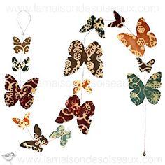 Guirlande papillons motifs imprimés en papier Népalais