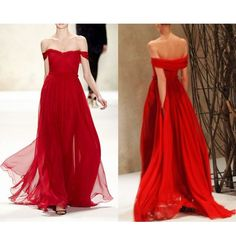 Off Shoulder Red Chiffon Long A-line Cheap Popular Prom Dresses,Stuning Elegant Party Dresses,58