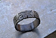 handcrafted ring - dark, etched