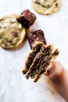 These brownie stuffed chocolate chip cookies are the cookies you've been dreaming of. Crisp on the outside with chewy, chocolaty gooey brownie center.