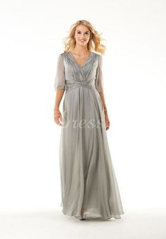 V-neck Chiffon A-Line With Ruching Half Sleeves Mother Of The Bride Dress  picture 1