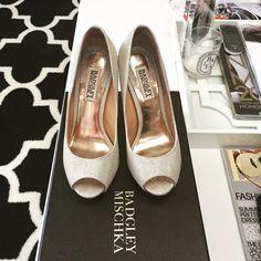 "Badgley Mischka Peep Toe Pumps Worn once on my wedding day. 4.5 self covered heels (0.75"" platform, 3.75"" heels). Come with box, dust bag and extra heel tips. Badgley Mischka Shoes Heels"