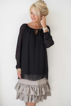 RAIN Silk blouse, Black