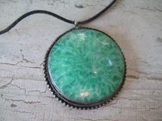 Jade Look Silver Pendant by mimiyaya on Etsy