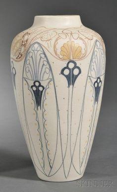 1910 - Holland art nouveau motifs vase ceramics clay pottery
