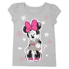 Disney® Minnie Mouse Toddler Girls' Short Sleeve Tee - Gray
