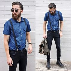 Jack & Jones Shirt, Dr Denim Jeanmakers Black Jeans, Dr. Martens Black Boots