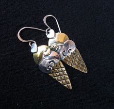 Ice Cream Cone Earrings in Sterling Silver and Brass, Dangle Ear Wires by Far Fetched, Jewelry with Heart, Gifts for Her Native American Earrings, Lampwork Beads, Sterling Silver Jewelry, Dangle Earrings, Dangles, Vintage Items, Gifts For Her, Ice Cream, Brass