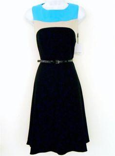 Calvin Klein CK Dress Size Sz 4 Black Blue Beige Colorblock Flare Belt NWT #CalvinKlein #TeaDress #Cocktail