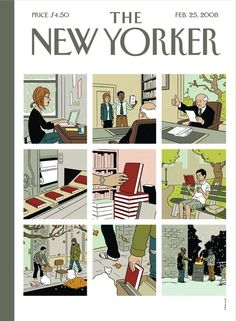 """The New Yorker, February cover 2008 by Adrian Tomine: """"Books - grim but hopeful view on book future. The New Yorker, New Yorker Covers, Capas New Yorker, Magazine Art, Magazine Covers, Ligne Claire, Writer Workshop, Illustrations And Posters, Comic Artist"""