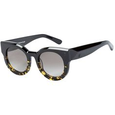 Valley Eyewear A Dead Coffin Club Round Faceted Sunglasses (€185) ❤ liked on Polyvore featuring accessories, eyewear, sunglasses, black pattern, two tone lens sunglasses, two tone sunglasses, lens glasses, round sunnies and print sunglasses