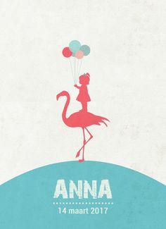 Geboortekaartje Anna - Pimpelpluis - https://www.facebook.com/pages/Pimpelpluis/188675421305550?ref=hl (# meisje- retro - vintage - flamingo - dieren - ballon - ballonnen - silhouet - lief - origineel)