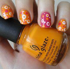 orange & pink dots