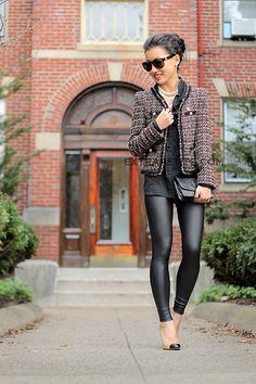 Extra Petite - black leather pants and blazer jacket