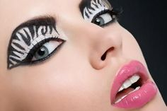 Zebra eye makeup love it :)