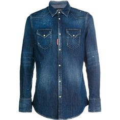 Dsquared2 washed effect denim shirt (€510) ❤ liked on Polyvore featuring men's fashion, men's clothing, men's shirts, men's casual shirts, shirts, blue, mens long sleeve denim shirt, mens blue shirt, mens extra long sleeve shirts and mens longsleeve shirts