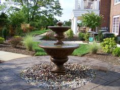 Classic Tiered Fountain on one of our disappearing fountain basins.