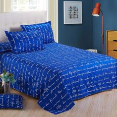 Blue Letters Home Single Double Queen King Bed Cotton Blend FLAT SHEET Fit #Unbranded