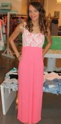 Lace Tank Maxi- Coral