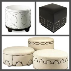 How to Build an Ottoman! To build an ottoman with this decorative nailhead design, you must create the basic wooden ottoman frame and work from there. Recycled Furniture, Unique Furniture, Diy Furniture, Furniture Design, Diy Tufted Headboard, Upholstered Sofa, Paint Upholstery, Furniture Upholstery, Upholstered Box Springs