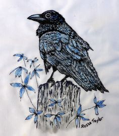 Painted and embroidered Rosie Taylor