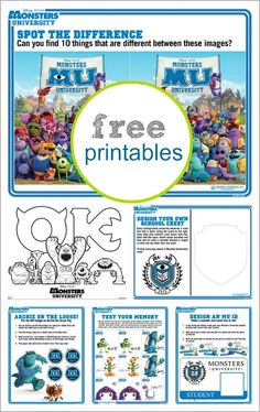 Monsters University: Activity Sheets {free printables} - Tonya Staab Monsters Un. Monster University Birthday, Monsters Inc University, Monster Inc Birthday, Monster Inc Party, Disney Classroom, Classroom Themes, 3rd Birthday Parties, Boy Birthday, Birthday Ideas