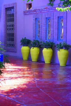 Kwantiteit contrast in kleurtoon, overheersende paarstinten tegenover de 4 geel/groene vazen.