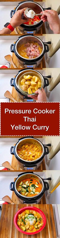 Pressure Cooker Thai Yellow Curry with Chicken. A quick weeknight curry, sweetened with a lot of coconut cream and spiced up with Thai yellow curry paste. | DadCooksDinner.com via @DadCooksDinner