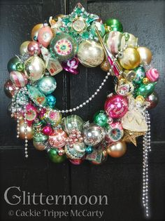 Heavenly Wreath by Glittermoon Vintage Christmas - using many Shiny Brite ornaments and tree topper. Christmas Ornament Wreath, Pink Christmas Tree, Shabby Chic Christmas, Xmas Wreaths, Christmas Past, Christmas Tree Toppers, Christmas Holidays, Silver Christmas, Victorian Christmas