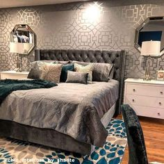 Grey and Teal Bedroom Vibes✨ Since it's 🤗 So excited for upcoming projects in the month of March💚 Tap for details Room Ideas Bedroom, Home Decor Bedroom, Living Room Decor, Bedroom Wall Ideas For Adults, Bedroom Ideas For Women In Their 20s, Silver Bedroom Decor, Master Bedroom Design, Luxury Bedroom Design, Luxurious Bedrooms