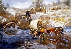 "Pioneer hardships are depicted by LDS artist Glen S. Hopkinson in painting, ""Go Forth With Courage Strong. Western Games, Western Art, Western Cowboy, Mormon History, Mormon Pioneers, Lds Pictures, Lds Seminary, Pioneer Trek, Lds Art"