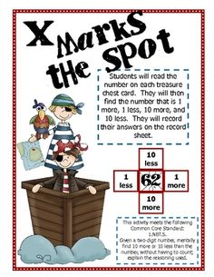 This pirate themed activity is great to use in math centers! Students will read a two digit number and find what is 10 more, 10 less, 1 more, and ...