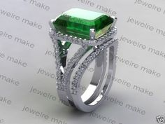 5.40Ct Green Emerald Cut Diamond Engagement Wedding Ring Set in 14K White Gold #MacysJewellery #SolitaireRing