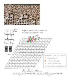 Falando de Crochet - Gráficos: TAPETE FLORES DE CROCHE EM PONTOS ALTOS SOBREPOSTOS - PONTO TELA TRABALHADO COM PONTO ALTO SOBREPOSTO (CROCHETED RUG - WIGGLY CROCHET)