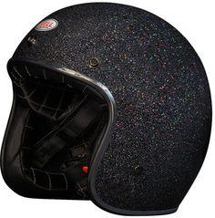 Bell Custom 500 Motorcycle Helmet Black Shimmer Glitter Multicolor Size Medium M